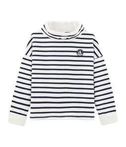Sweatshirt jongens wit Marshmallow / blauw Smoking