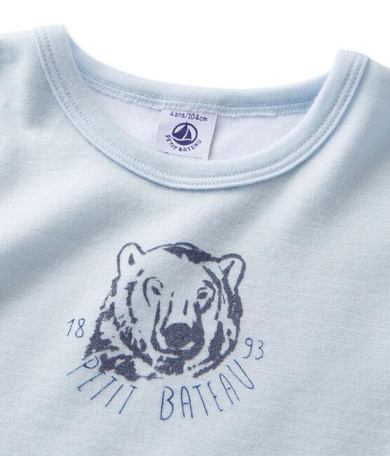 T-shirt garçon en laine et coton bleu Fraicheur