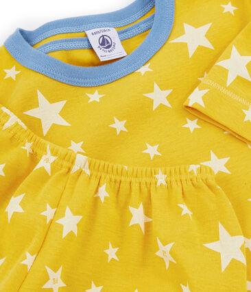Korte gebreide jongenspyjama geel Honey / wit Marshmallow