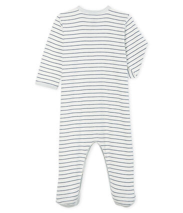 Slaappakje van ribstof babyjongen wit Marshmallow / blauw Medieval