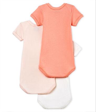 Trio de bodies manches courtes bébé fille en coton et lin