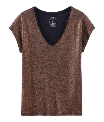 eec45d4a3e4 Dames-t-shirt met korte mouwen in geïriseerd linnen