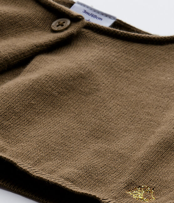 Boléro bébé fille en tricot marron Shitake