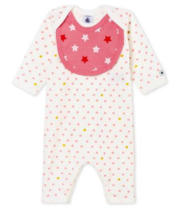 Pyjama zonder voetjes en slabbetje voor babymeisjes wit Marshmallow / wit Multico