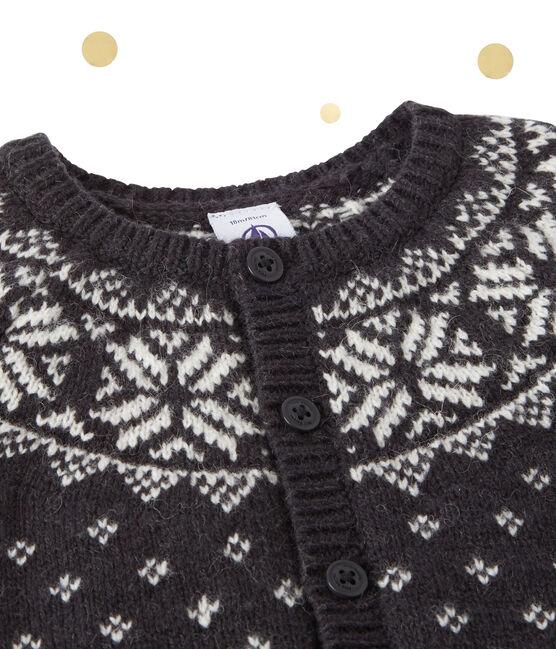 Cardigan in jacquardgeweven wolmix voor babyjongens grijs Capecod / wit Multico