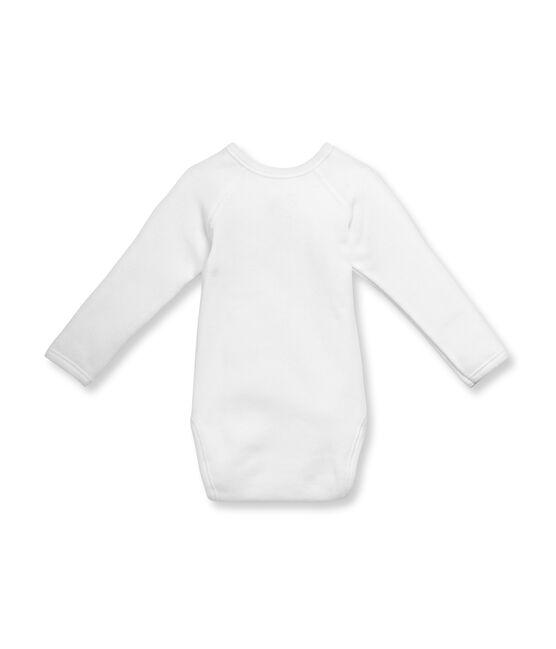 Uniseks eerste body met lange mouwen in katoenflanel wit Ecume