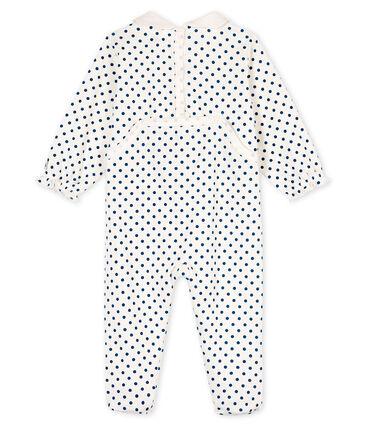 Slaappakje babymeisje van ribstof wit Marshmallow / blauw Contes
