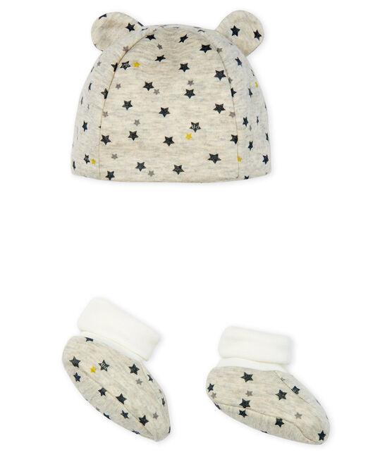 Set muts en schoentjes babyjongen van wol en katoen set .