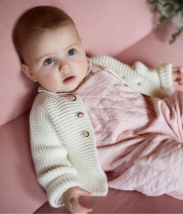 Korte salopette voor baby's van gewatteerde tubic roze Charme / wit Marshmallow