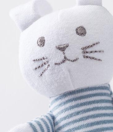 Uniseks konijnknuffel met rammelaar voor baby's blauw Fontaine / wit Marshmallow