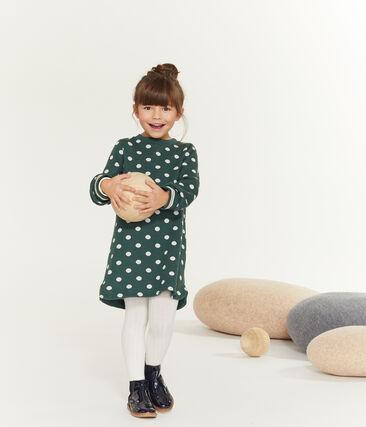Meisjesjurk met print groen Sousbois / wit Marshmallow