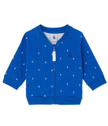 Cardigan bébé garçon en tubique blauw Delft / wit Lait