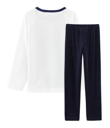 Pyjama petit garçon en velours bleu Smoking / blanc Multico