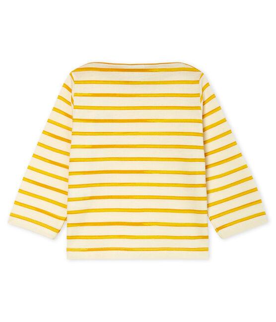 Tee shirt manches longues rayé bébé garçon blanc Marshmallow / jaune Boudor