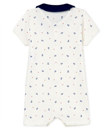 Korte playsuit uit ribstof voor babyjongens wit Marshmallow / wit Multico
