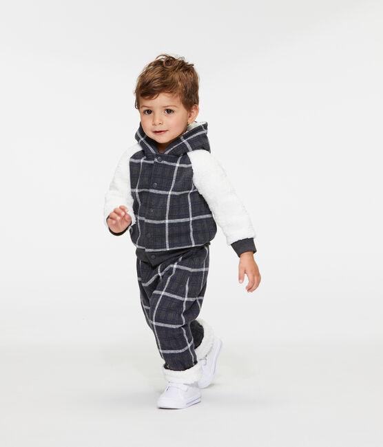 Sweatshirt met capuchon voor babyjongen van ruitjesmesh met wollige sherpa zwart City / wit Multico