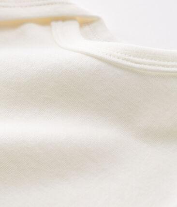 Rompertje met lange mouwen van wol en katoen baby wit Marshmallow