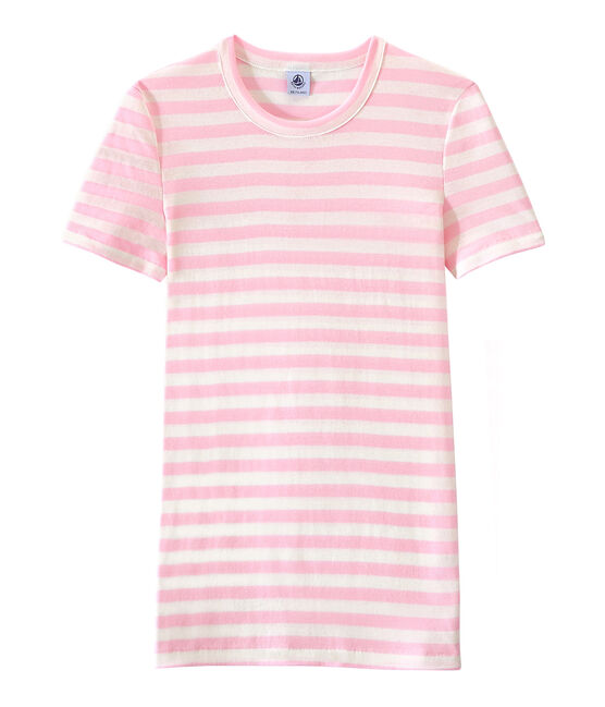 Gestreept dames-T-shirt in origineel geribd katoen roze Babylone / wit Marshmallow