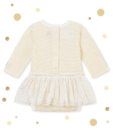Body robe bébé fille blanc Marshmallow / jaune Dore