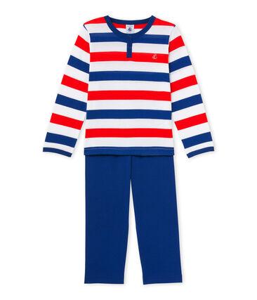 Gestreepte jongenspyjama in jersey wit Ecume / blauw Source