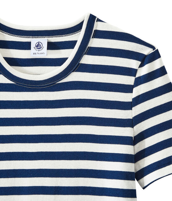 T-shirt femme en côte originale rayée bleu Medieval / blanc Marshmallow