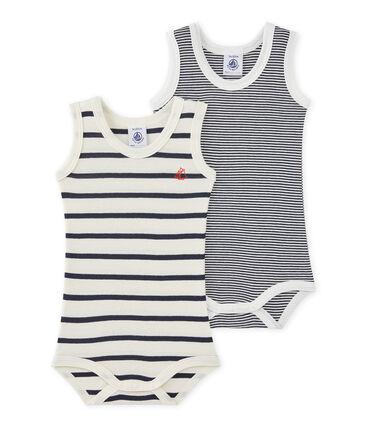 Set van twee gestreepte body's zonder mouwen voor babyjongens