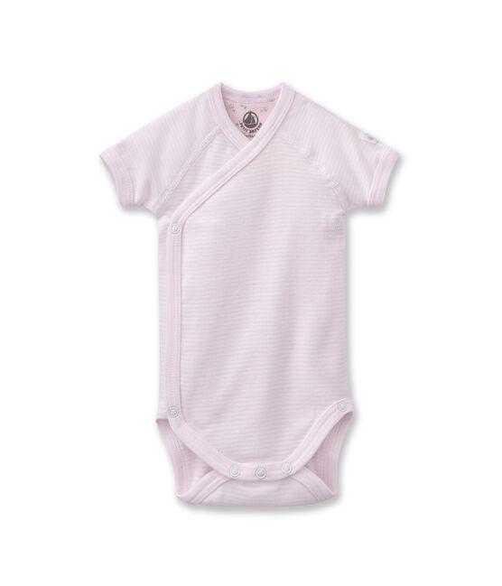 Body naissance bébé mixte à milleraies rose Vienne / blanc Ecume