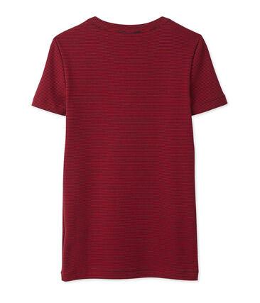 Dames-T-shirt met milleraies-strepen blauw Smoking / rood Mars