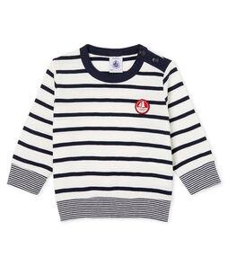 T-shirt met lange mouwen marinestreep babyjongen wit Marshmallow / blauw Smoking