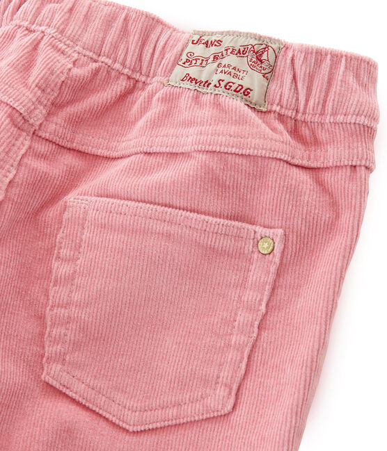 Velours slim enfant fille rose Charme