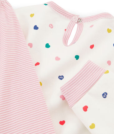 Chemise de nuit manches longues petite fille en molleton blanc Marshmallow / blanc Multico