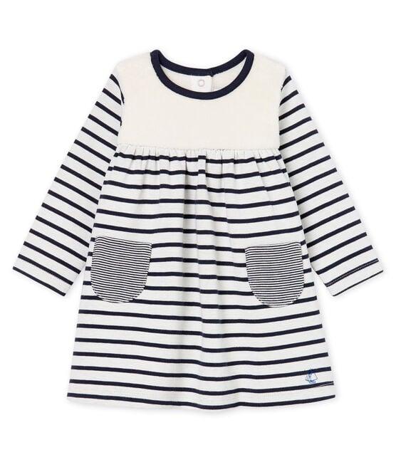 Robe manches longues bébé fille rayée blanc Marshmallow / bleu Smoking Cn