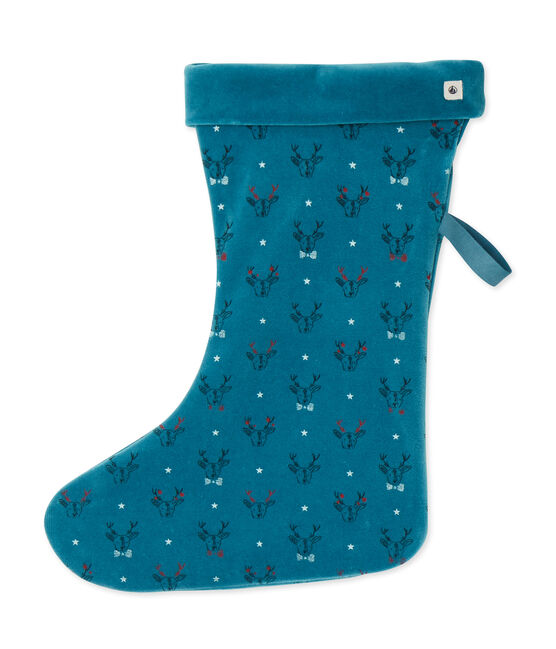 Kerstsok blauw Contes / wit Multico