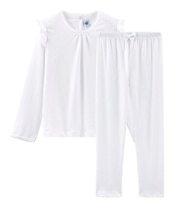 Meisjespyjama van fijn katoen wit Ecume