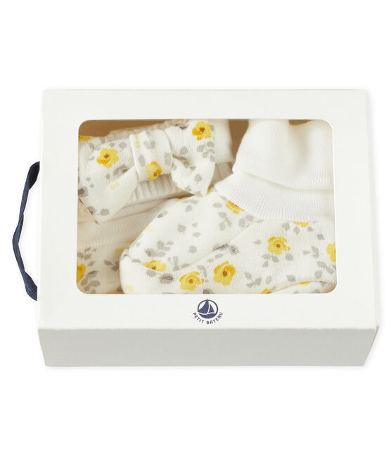 Set haarband en babyschoentje meisjes van wol en katoen set .