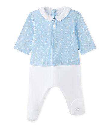 Hemdoverall uit twee stoffen voor babyjongens