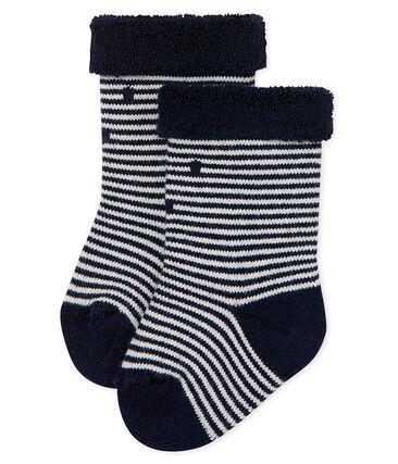 2105b32e9 Chaussettes hautes envers éponge rayée bébé mixte
