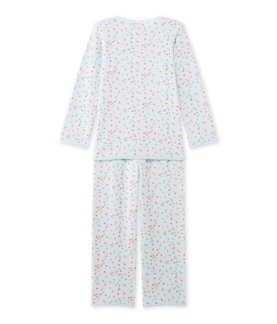 Meisjespyjama in boucléfluweel blauw Bocal / wit Multico
