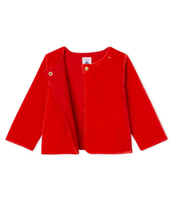 Cardigan van fluweel-mesh babymeisje rood Terkuit