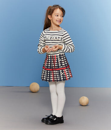 Plooirok met ruitjes voor meisjes wit Marshmallow / wit Multico