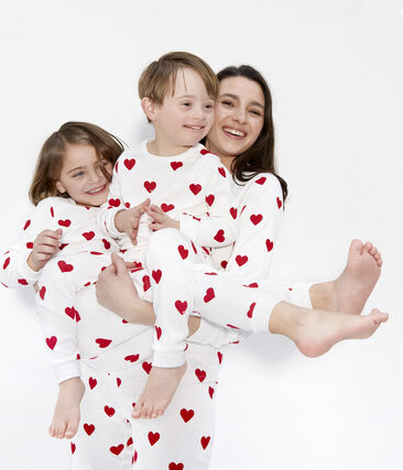 Meisjes - Jongens pyjama van gebreide stof wit Marshmallow / rood Terkuit