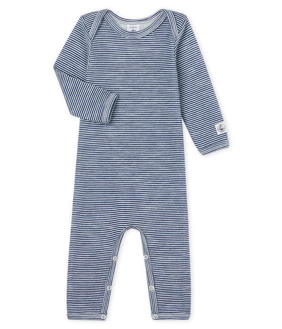 Rompertje lange pijpen van wol en katoen baby blauw Medieval / wit Marshmallow
