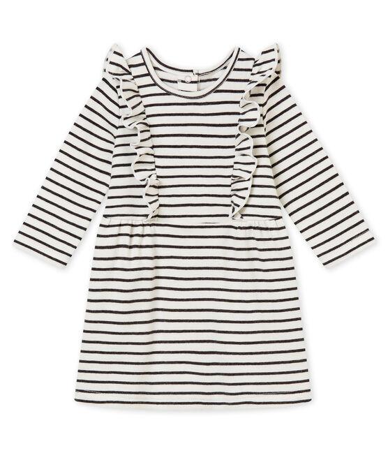 Marinegestreepte jurk voor babymeisjes wit Marshmallow / zwart City