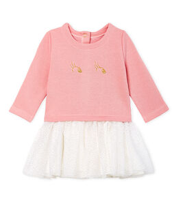 Jurk met lange mouwen twee soorten materiaal babymeisje roze Charme / wit Multico