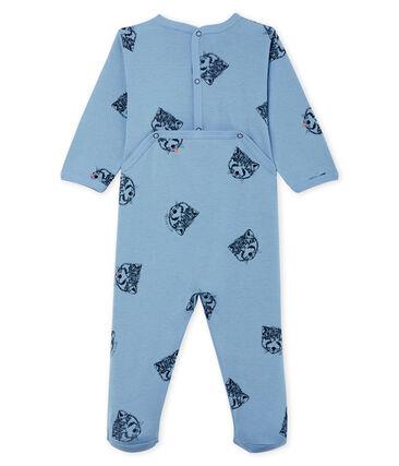 Slaappakje van ribstof babyjongen blauw Acier / wit Multico