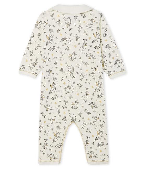 Slaappakje zonder voetjes van ribstof voor babymeisje wit Marshmallow / wit Multico