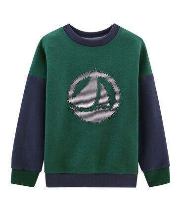 Sweatshirt jongens groen Sousbois / blauw Smoking