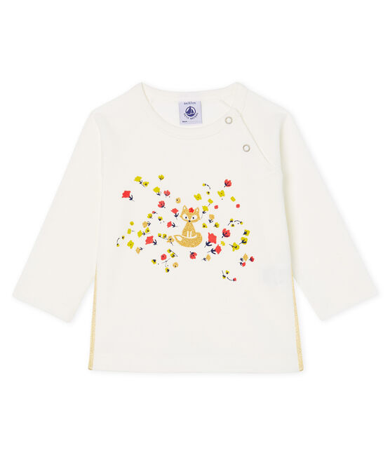 T-shirt met lange mouwen babymeisje wit Marshmallow