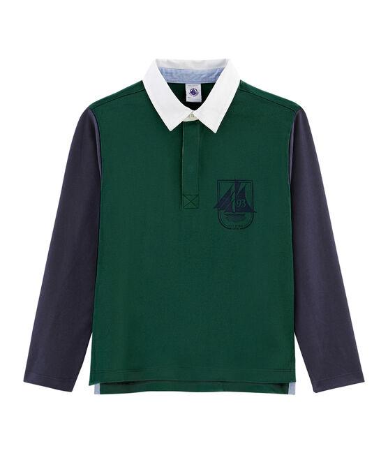 Rugbypolo jongens groen Sousbois / blauw Smoking
