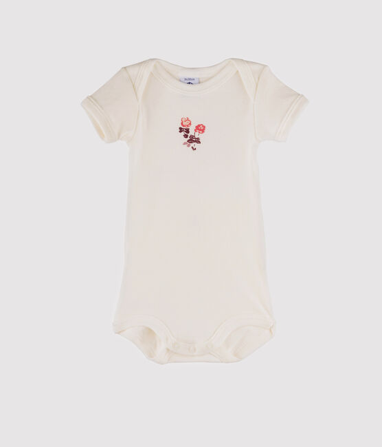 Body manches courtes bébé fille blanc Marshmallow / rose Flashy